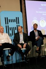 Day 1: Panel: Lorien Gamaroff (Centbee/Bankymoon), Adrian Hope-Bailie (Ripple), John Shipman (PwC), Michael Glaros (Microsoft), Marvin Coleby (Raise), Andrew Baker (Absa)
