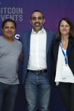 Farzam Ehsani (MC), CEO and Co-Founder of VALR.com with Sonya Kuhnel and Theo Sauls, founders of Bitcoin Events